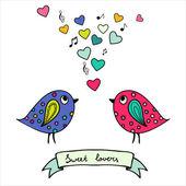 две красочные птицы, рисованной с сердечками и примечания — Cтоковый вектор