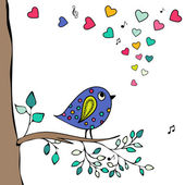 Blue bird, hand-drawn sitting on a tree branch with hearts notes. — Stock Vector