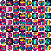 Seamless pattern of colorful circles on the colored squares, hand-drawn. Summer background. — Stock Vector