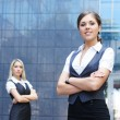 Two young attractive business women — Stock Photo