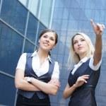 modern arka plan üzerinde iş kadınları — Stok fotoğraf