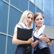 Two young attractive business women looking to the laptop — Stock Photo #14928555
