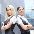 Two attractive business women (WARNING! FOCUS ONLY ON BLOND) — Stock Photo #14928865