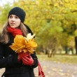Stock Photo: Young attractive girl in autumn park