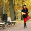 Young attractive girl in autumn park — Stock Photo #14931605