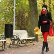 Young attractive girl in autumn park — Lizenzfreies Foto
