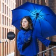 Stock Photo: Fashion shoot of young attractive womwith umbrella