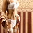 Royalty-Free Stock Photo: Body of young beautiful woman in lingerie standing over vintage background