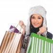 Young attractive girl in native scandinavian clothes makes shopping — Stock Photo #14936117