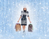 Young attractive girl in native scandinavian clothes makes shopp — Stock Photo