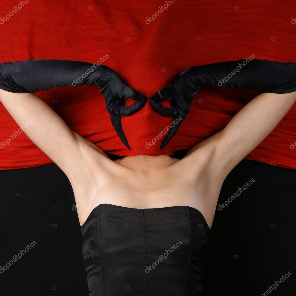 Bizarre lady over red in bat style  Stock Photo #14931935