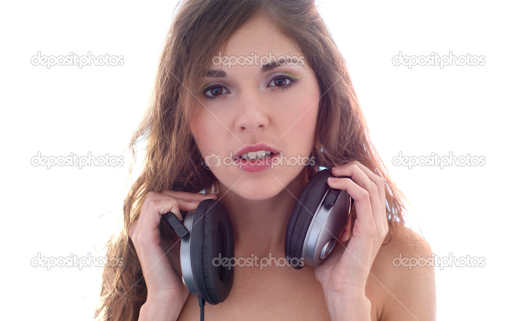 Attractive girl with headphones  Stock Photo #14934025