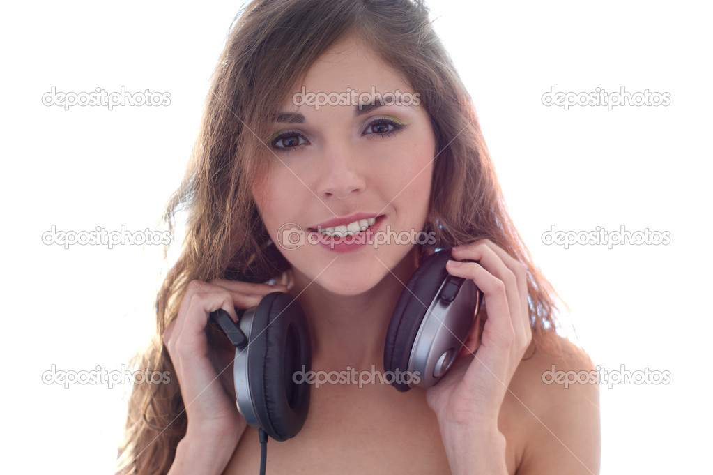 Attractive girl with headphones — Stock Photo #14934073