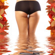 Colorful and sexy autumn picture of beautiful ass and fallen lea — Stock Photo