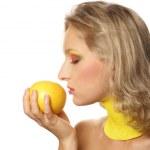 Young beautiful woman eating grapefruit — Stock Photo #14978853