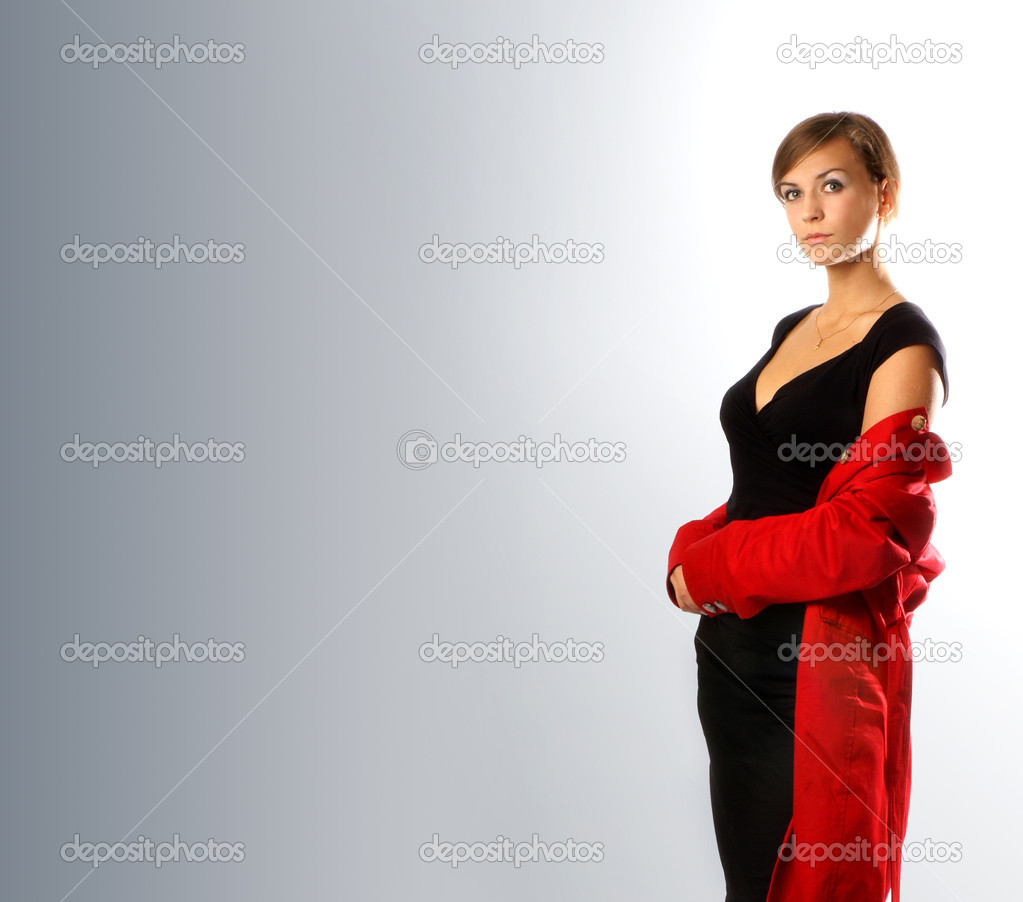 Lady in red isolated on grey — Stock Photo #14976799