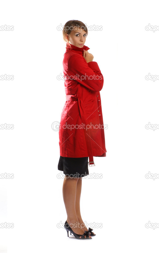 Lady in red isolated on white — Stok fotoğraf #14976801