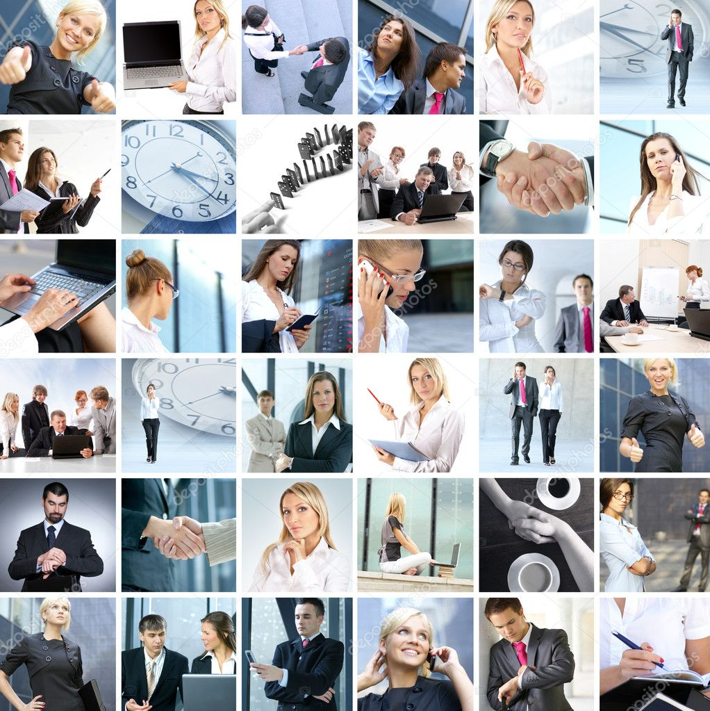 Business collage made of nine business pictures — Stock Photo #14977607