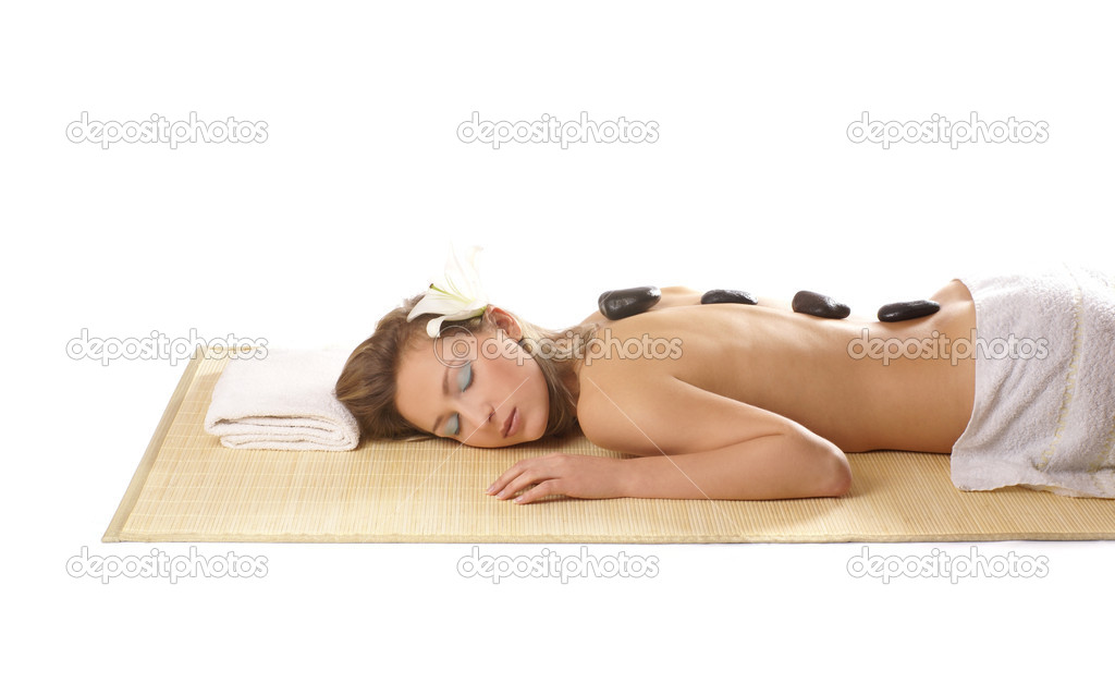 Attractive woman getting spa treatment isolated on white — Stock Photo #14978883