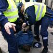Police officers arrest near Bronze Soldier in Tallinn Est — Stock Photo