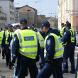 Stock Photo: Police near Bronze Soldier in Tallinn Estoni26.04.07