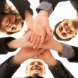 Group handshake with a lot of different hands — Stock Photo #14983999