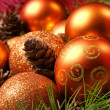 Christmas background with many balls — Stock Photo