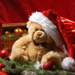Christmas background with attractive teddy bear and other stuff - Stock Photo