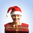 Young attractive adult female with big present — Foto de Stock
