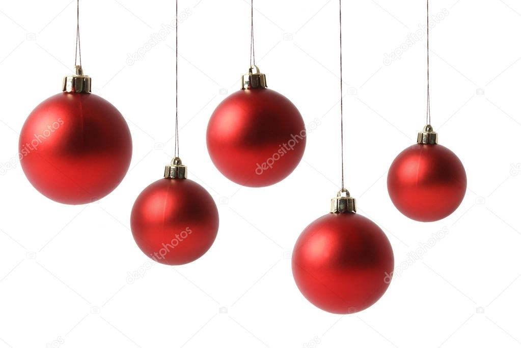 Red Christmas balls isolated on white background                 — Stock Photo #14988863