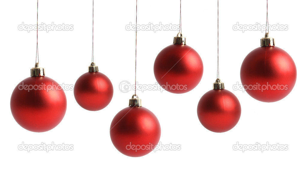 Red Christmas balls isolated on white background                 — Stock Photo #14988941