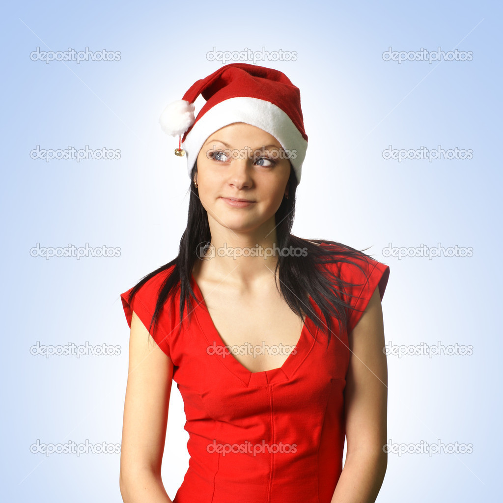 Young attractive adult female in christmas dress isolated on white              — Stock Photo #14989435