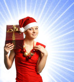 Young sexy Santa isolated on white — Stock Photo
