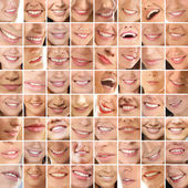 Collage, made of many different smiles — Stockfoto