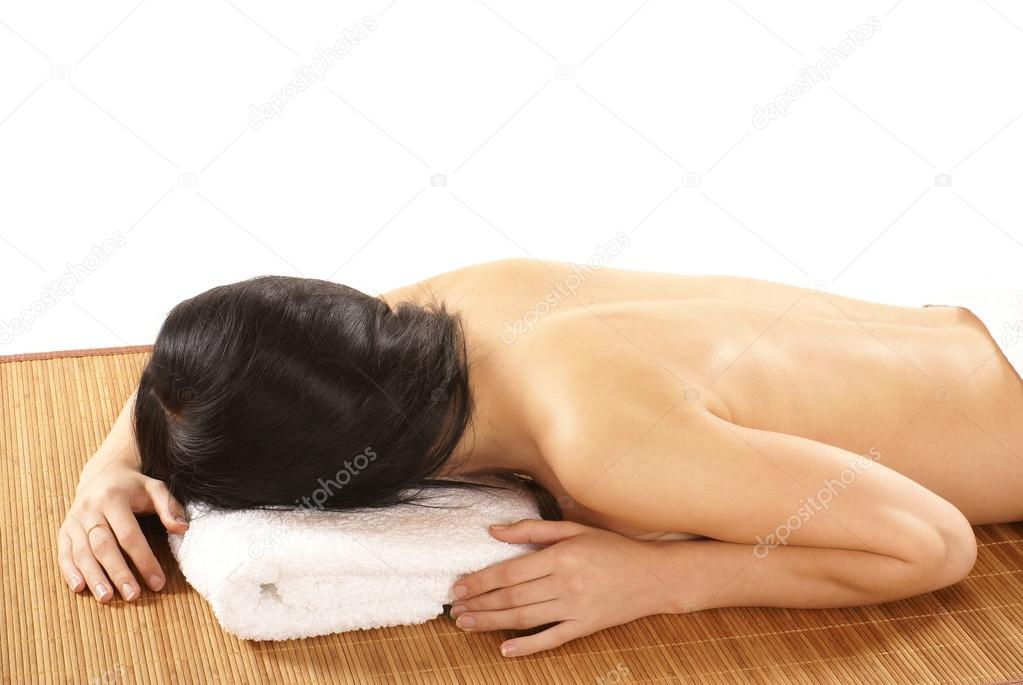 Attractive woman getting spa treatment isolated on white — Stock Photo #14992011