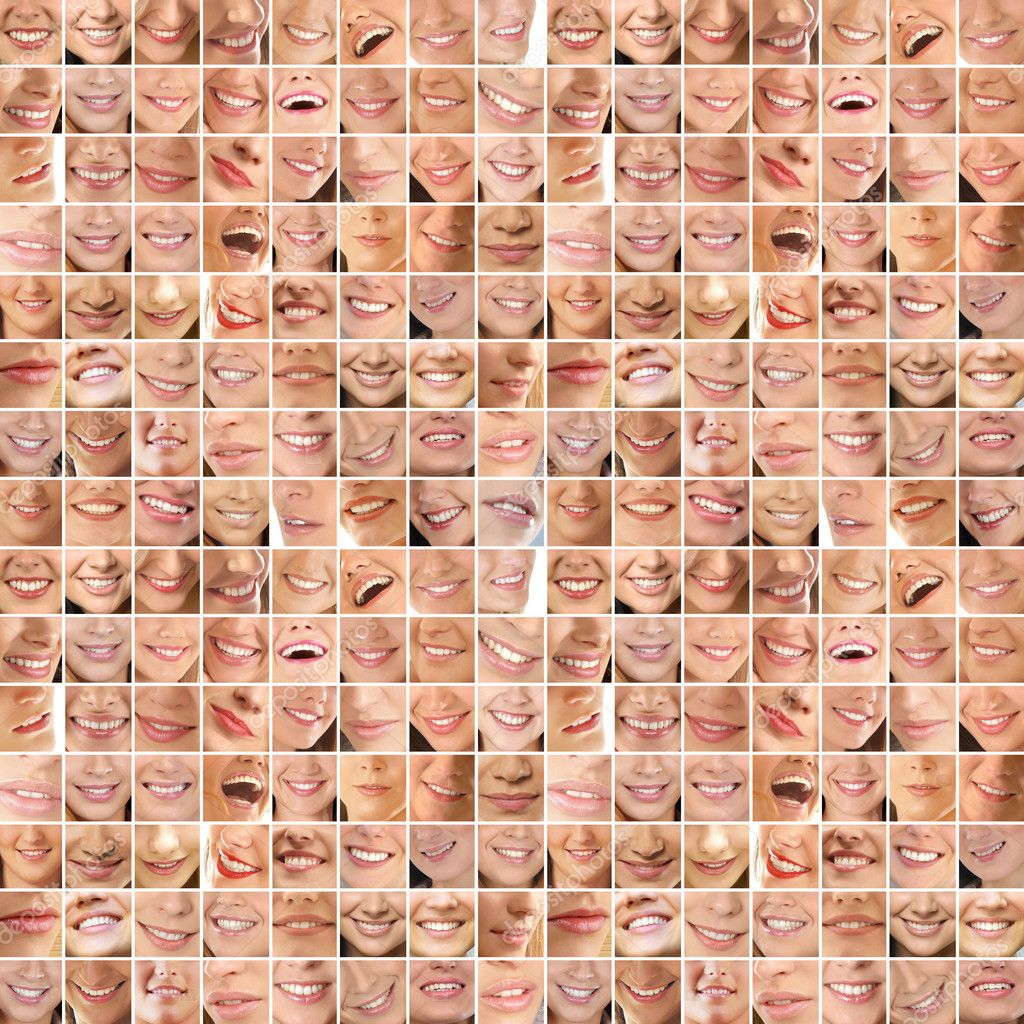 Collage, made of many different smiles  Lizenzfreies Foto #14999015