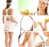 Genç tenisçi yerleştirmek — Stok fotoğraf