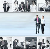 Conceptual collage of businessman and businesswoman — Stock Photo