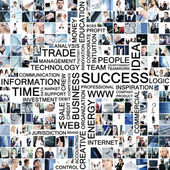 Business collage made of many different pictures with text — Stock Photo
