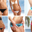 Collage of nine belly pictures - Stockfoto