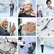Collage made of some different pictures about business life st — Stock Photo