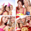 Three young beautiful girls celebrate birthday isolated over white background — Stok fotoğraf