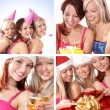 Three young beautiful girls celebrate birthday isolated over white background - Стоковая фотография