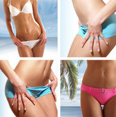 Collage of nine belly pictures — Stock Photo