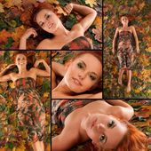 Attractive redhead in autumn — Stock Photo