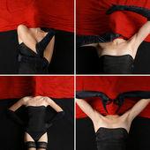 Signora sopra rosso — Foto Stock