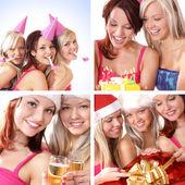 üç genç güzel kız beyaz arka plan üzerinde izole doğum günü kutlamak — Stok fotoğraf