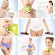 Collage about sport, dieting and healthy eating — Stock Photo #15363987