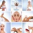 Spa collage with some nice shoots of young and healthy women getting recreation treatment — Stock Photo #15363793