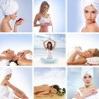 Spa collage with some nice shoots of young and healthy women getting recreation treatment — Stock Photo #15363805